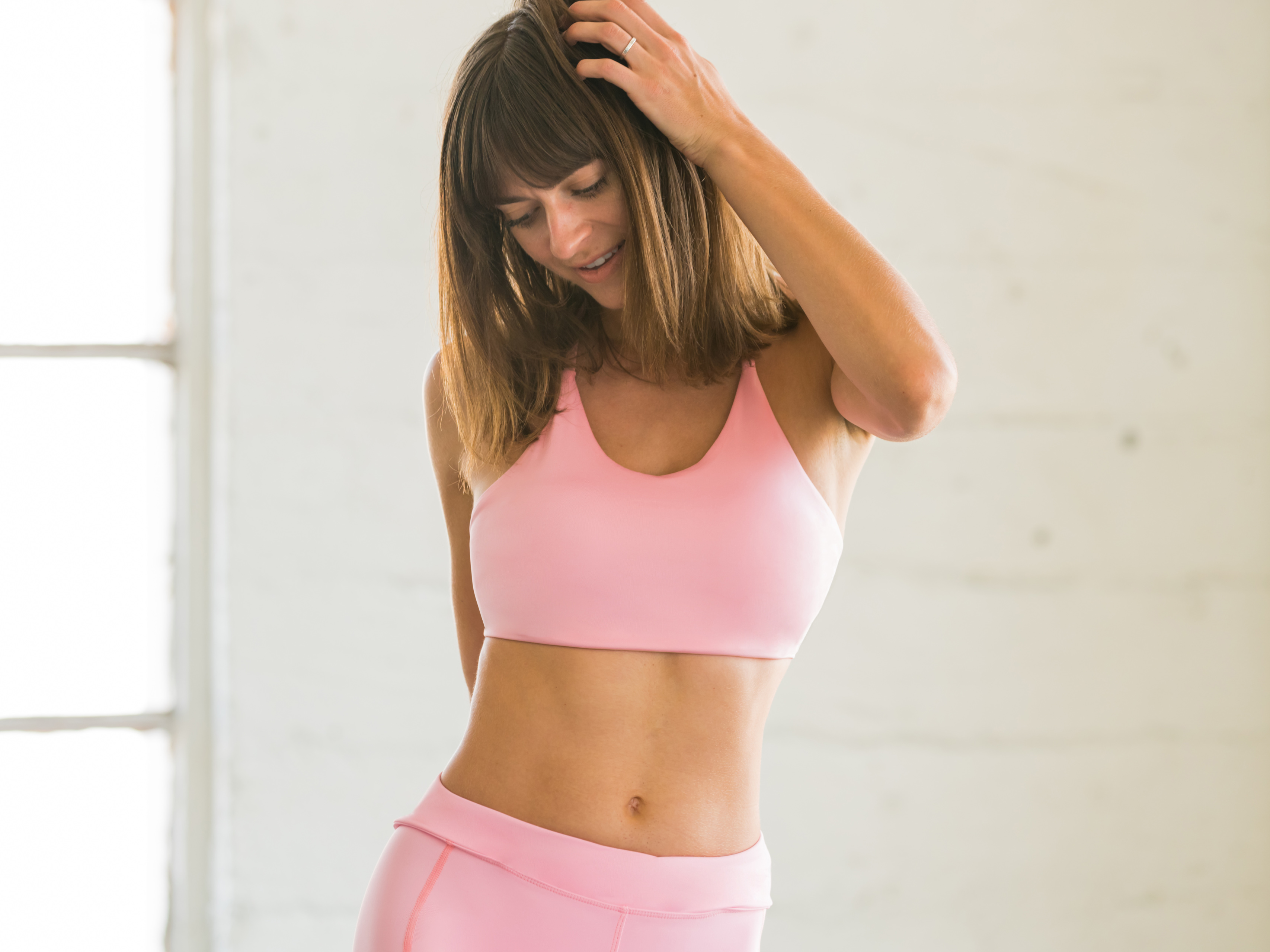 96235396797fc Details about Flexi Lexi Fitness Womens Baby Pink Amber Bralette Sports Bra  Lightweight Top