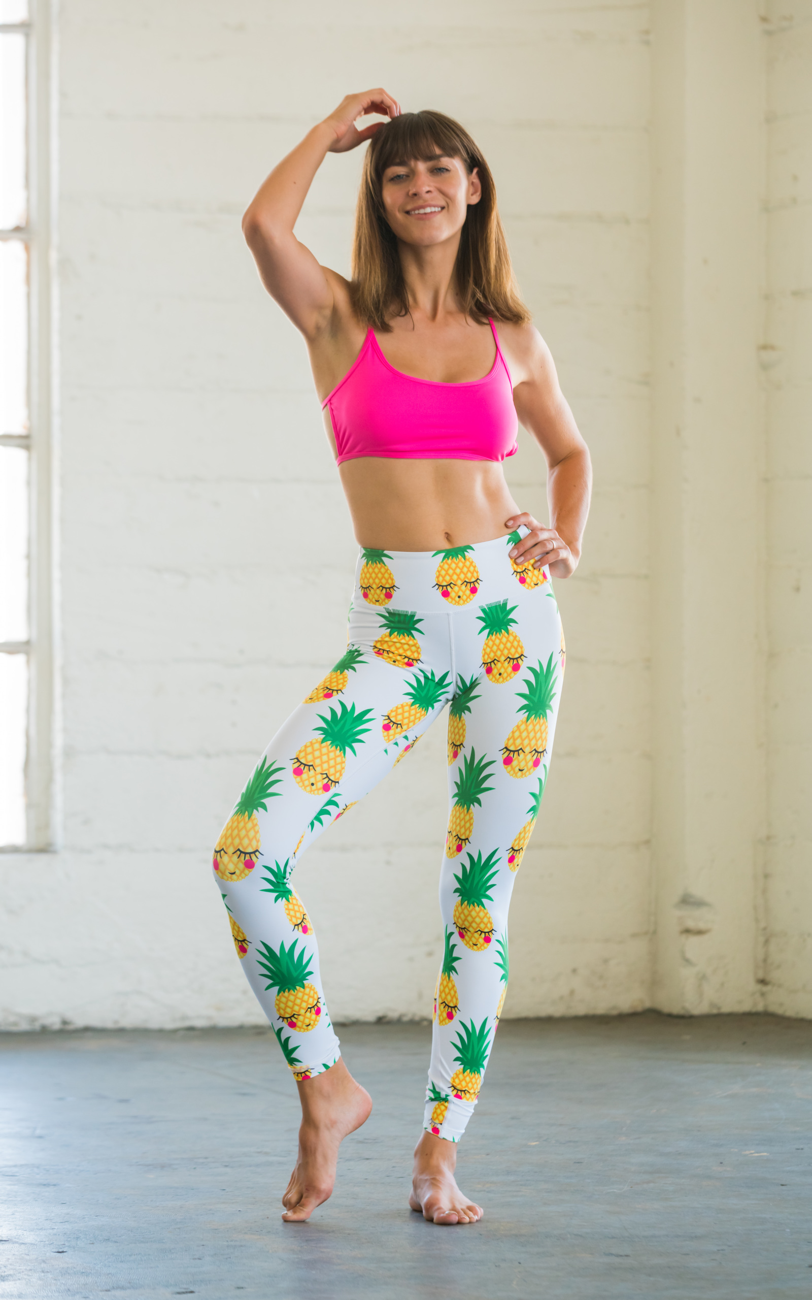 43f9304617bedf Details about Flexi Lexi Fitness Womens Pineapple Yoga Pants Sports  Lightweight Leggings