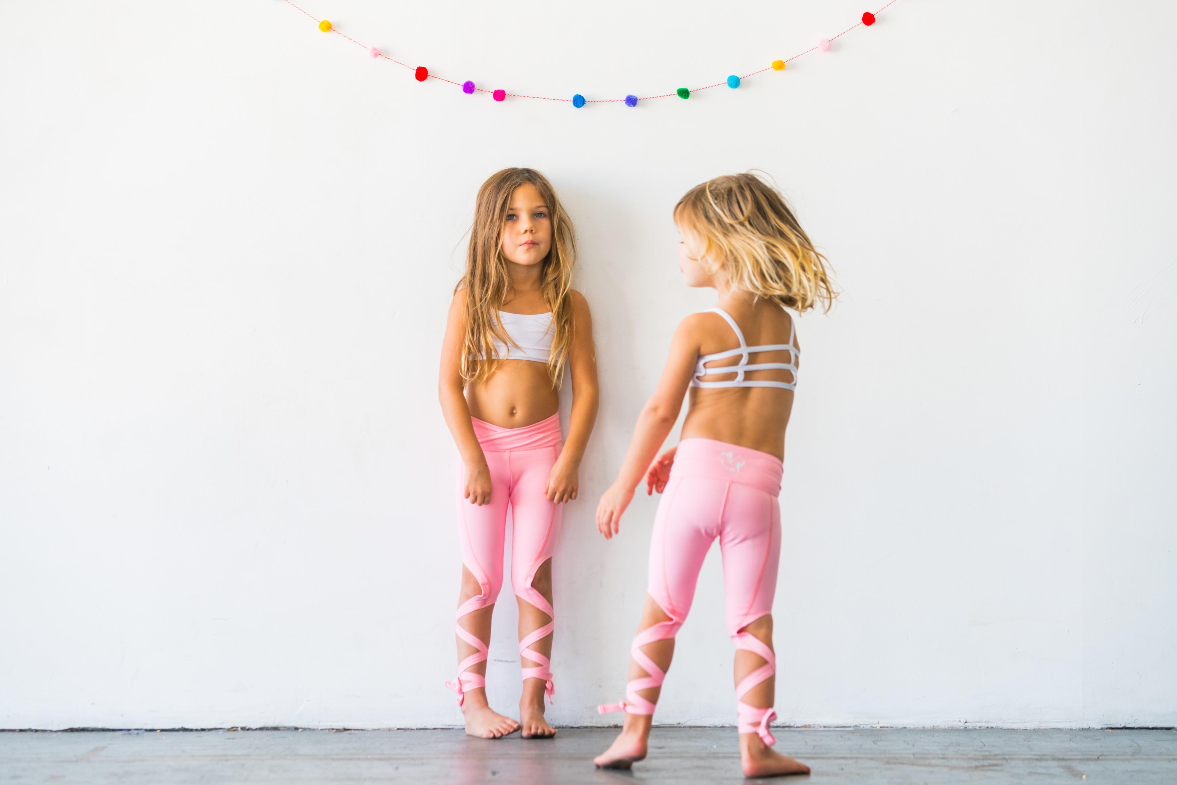 e1769bc1e98b4 Flexi Lexi Fitness Kids Minis Coral Pink Dancer Leggings Sports Yoga Pants